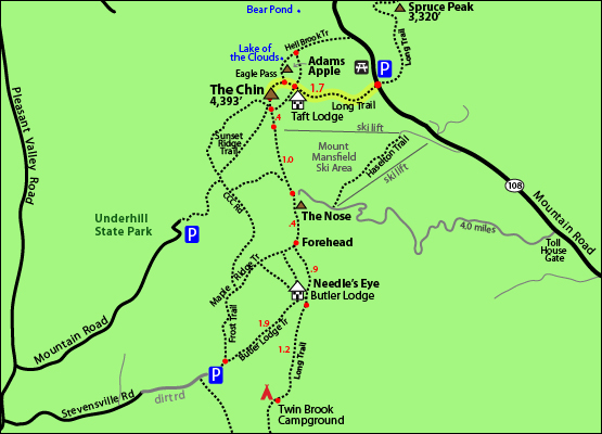 Mount Mansfield hiking trail map