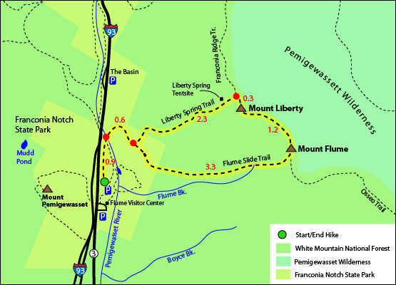 Mount Flume Loop Hike Map 4000 Footers Flume Slide Trail Liberty Spring Trail