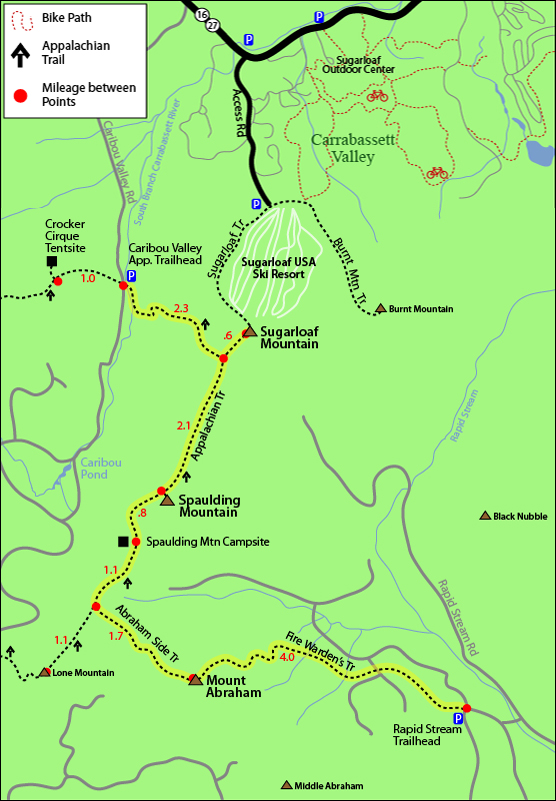 trail map sugarloaf mountain spaulding mount abraham via appalachian trail fire wardens trail from rapid stream or caribou valley traillhead. sugarloaf hiking map, hikers map sugarloaf ski resort carrabassett valley maine 4000 footers new england